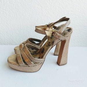 Sam Edelman Metallic Stack Heels Size 10